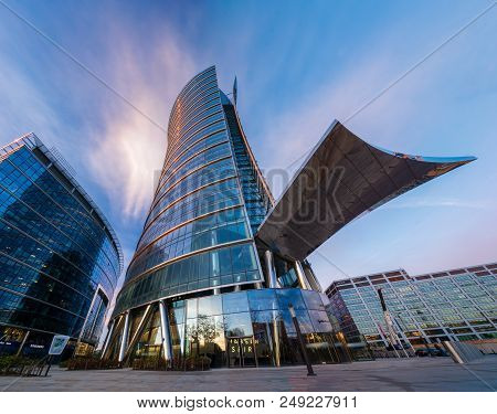Warsaw,poland-april 2018:modern Office Buildings-warsaw Spire, Business Center In Warsaw