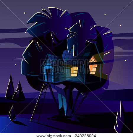Vector Cartoon Illustration Of Tree House At Dark Night, Evening. Cozy Building With Ladder On Wood