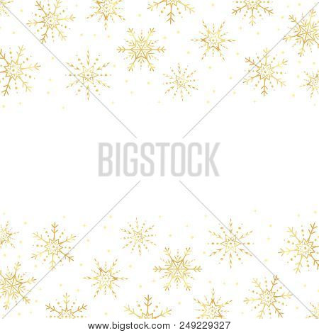 Vector Gold Snowflakes Border. Golden Snowflakes Horizontal Border. Snowflakes Frame.