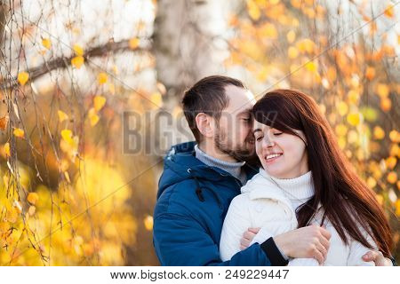 Man And Woman Relations, Happy Couple, Love. First Date, Outdoors, Sunny Autumn Day.