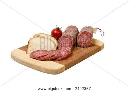 Salami, Bread And Tomato