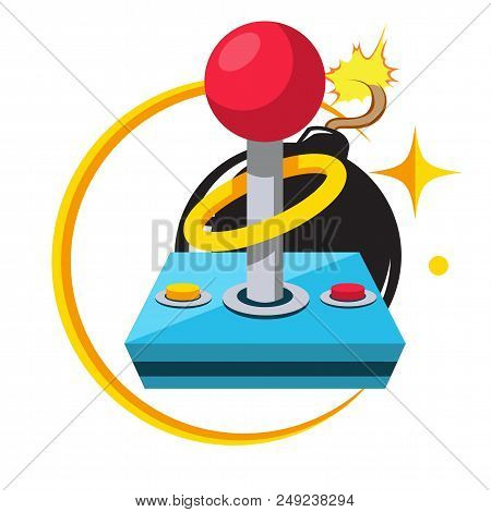 Game Retro Joystick Black Bomb Background Vector Image