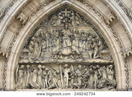 Last Judgement - Sculpture Above The Entrance To The Church On The Vysehrad In Prague