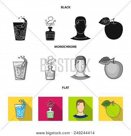A Glass Of Water, A Bottle Of Alcohol, A Sweating Man, An Apple. Diabeth Set Collection Icons In Bla