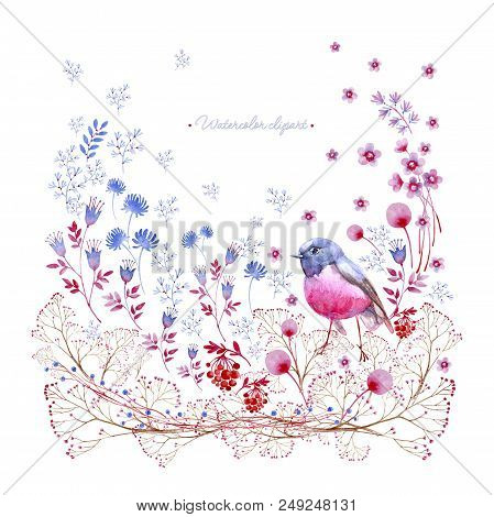 Watercolor Square Clipart Of Crimson And Blue Nature Elements. Clipart Consist Of Berries, Flowers,