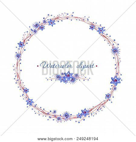 Watercolor Floral Rounded Wreath And Small Floral Bouquet With Brown Branches. Clipart Consist Of Fl