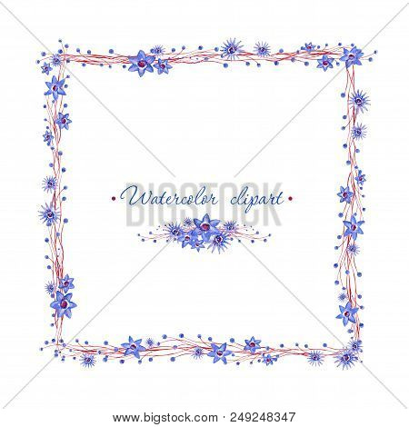 Watercolor Floral Square Frame And Small Floral Bouquet. Clipart Consist Of Flowers, Leaves And Bran