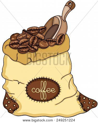 Scalable Vectorial Representing A Bag Of Coffee Beans And Scoop, Element For Design, Illustration Is