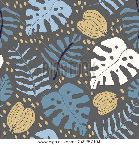Tropical Palm Tree Monstera Leaves Seamless Pattern With Dark Background