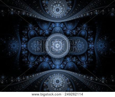 Abstract Blue Fractal Julian On Black Background