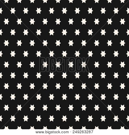 Simple Black And White Seamless Pattern With Small Star Shapes. Vector Abstract Geometric Texture. F