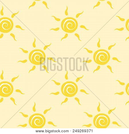 Vector Seamless Pattern With Yellow Sun With Ether Sign. Summer Background. Cute Colorful Wallpaper