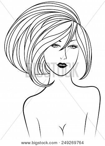 Black Contour Of Beautiful Modest Lady With Luxurious Short Hair And Expressive Eyes On The White Ba