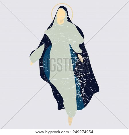 Distressed Vector Illustration: The Assumption Of Mary Into Heaven, Also Known As The Feast Of Saint