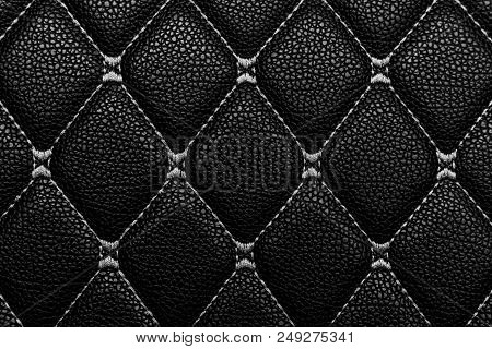 Black Leather With White Stich, Black And White Leather Texture Background.