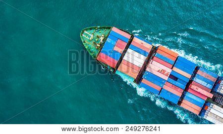 Aerial Top View Container Cargo Ship, Business Logistic And Transportation Of International By Ship