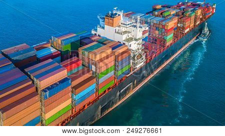 Cargo Ship In Import Export And Business Logistic, Logistic And Transportation Of International Cont
