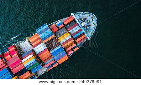 Aerial View Container Cargo Ship Import And Export Business, Top View Freight Transportation Import