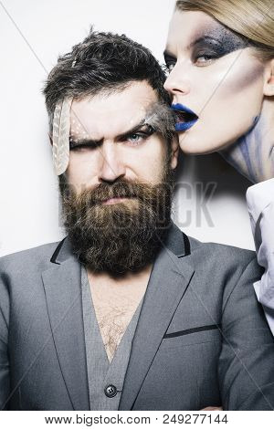 Visage Course. Sensual Woman And Bearded Man With Creative Makeup, Visage Course. Visage Course Of P