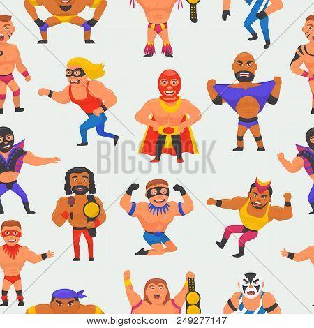 Wrestler Vector Masked Man Character And Masking Luchador In Wrestling Fight Illustration Set Of Wre