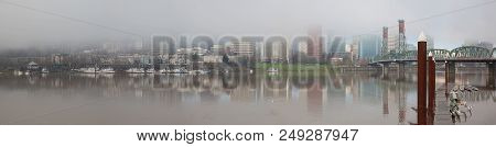 A Foggy Day In Portland Oregon City Downtown Waterfront Marina Along Willamette River Panorama
