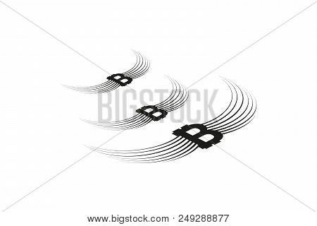 Bitcoin Cripto Currency Blockchain. Bitcoin Flat Logo On Whitebackground. Bitcoin With Wings. Isomet