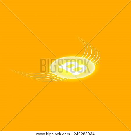 Bitcoin Cripto Currency Blockchain. Bitcoin Flat Logo On Orange Background. Bitcoin With Wings. Isom