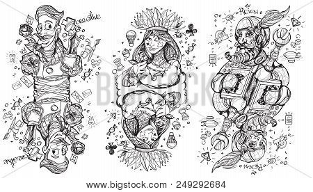 Black And White Sketch Of The Characters. King, Queen And Jack Of Clubs Suit. Playing Cards.