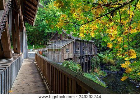 Cedar Creek Grist Mill In Washington State During Fall Season