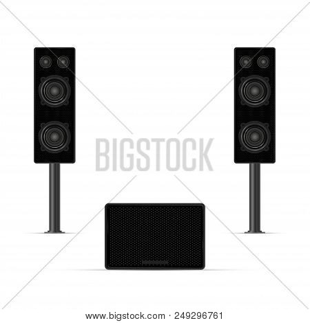 Musical Columns, Audio System, Loudspeakers And Subwoofer. Realistic Vector Illustration. Background