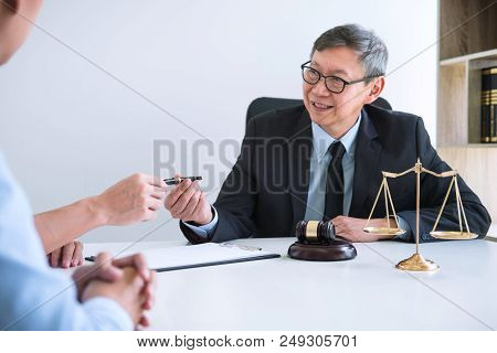 Unhappy Divorce Couple Having Conflict, Husband And Wife During Divorce Process With Senior Male Law