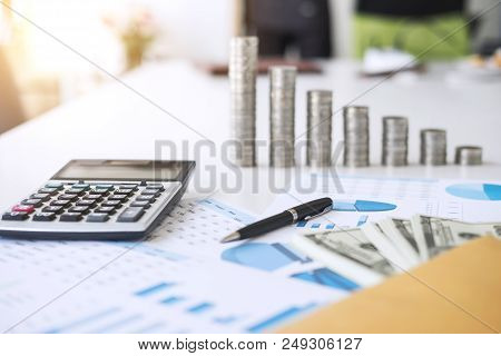 Business Accessories In Selective Focus, Items For Accounting, Marketing Strategy, Investment And Sa
