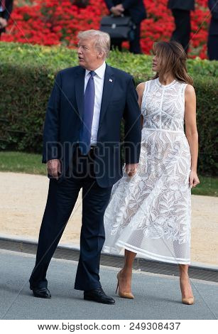 Donald Trump And Melania Trump At The Nato Summit