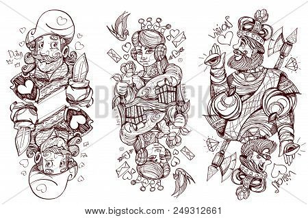 Black And White Sketch Of The Characters. King, Queen And Jack Of Hearts Suit. Playing Cards.