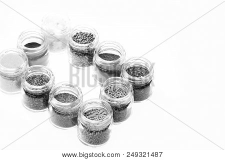 Set Of Seasoning Making Frame. Glass Containers With Paprika, Salt, Blue Sea Salt, French Mustard, D