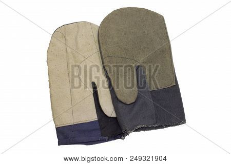 Pair Of Cotton Gloves With Thumb. Protection Of Hands Against Accidental Damage During Heavy Grip Wo