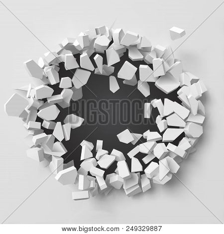 Vector Illustration Of Exploding Wall With Free Area On Center For Any Object Or Background. Suitabl