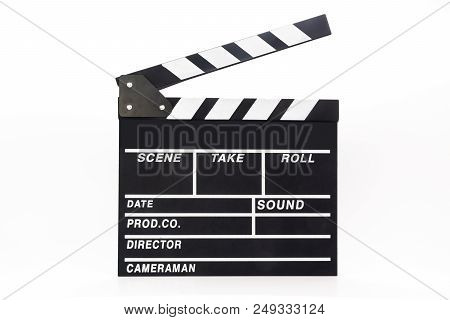 Black Open Clapper Board Isolated On White Background