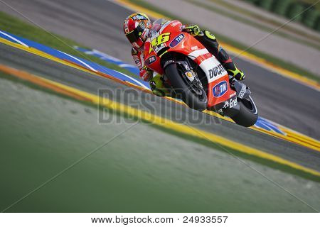 VALENCIA, SPAIN - NOVEMBER 5: Valentino Rossi in motogp Grand Prix of the Comunitat Valenciana, Ricardo Tormo Circuit of Cheste, Spain on november 5, 2011