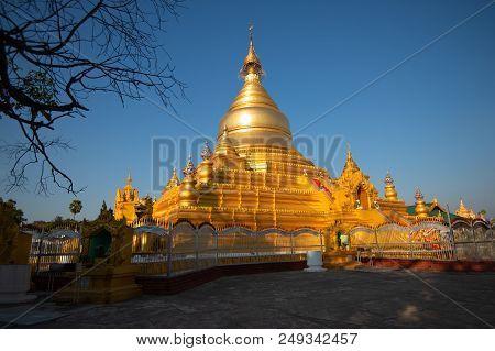 Golden Stupa At Kuthodaw Pagoda, Mandalay, Myanmar