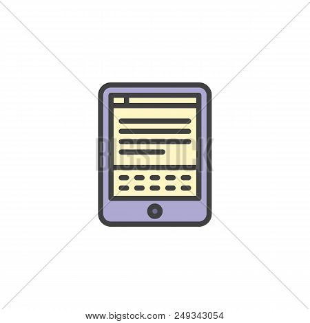 E-book Reader Filled Outline Icon, Line Vector Sign, Linear Colorful Pictogram Isolated On White. El