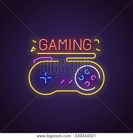 Glowing Neon Sign Of Big Retro Gamepad With Buttons And Text. Gaming Letters Glowing In Retro Colors