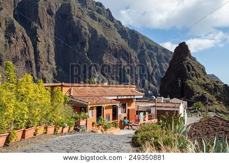 Masca, Tenerife - 21 May 2018: Front Of Restaurant In Masca Village, The Most Famous Tourist Destina