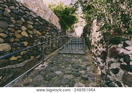 Uphill Stone Path In Masca Village, The Most Famous Tourist Destination In Tenerife, Spain.