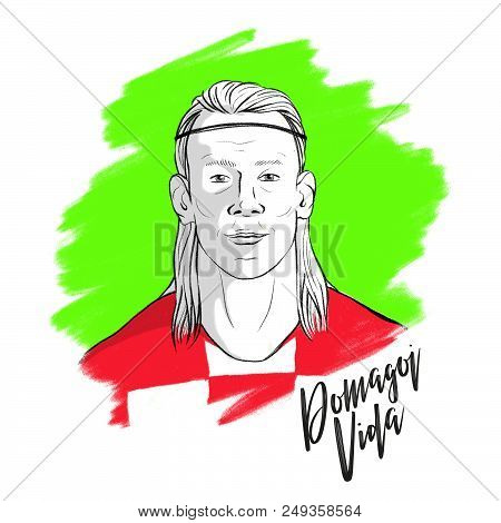 Russia, Moscow - June 13, 2018: Domagoj Vida, Croatian Footballer Hand Drawn Portrait, Playing Durin