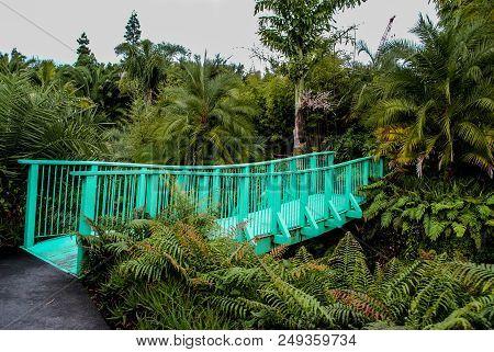 A Beautiful Turqoise Bridge In The Bush