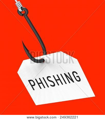 Phishing Hook Identity Crime Alert 3D Rendering