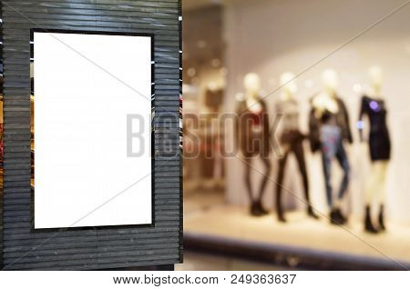 Blank Billboard Or Advertising Light Box For Your Text Message Or Media Content With Blurred Image O