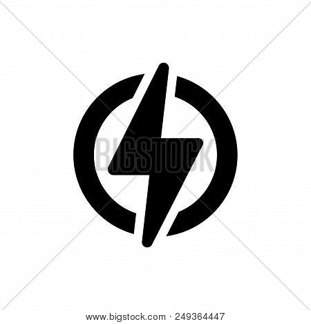Power Vector Icon Flat Style Illustration For Web, Mobile, Logo, Application And Graphic Design. Pow