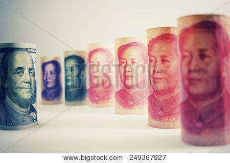 Face To Face Between Franklin And Mao. Serious Tension Trade War Between Usa Dollar And China Yuan B